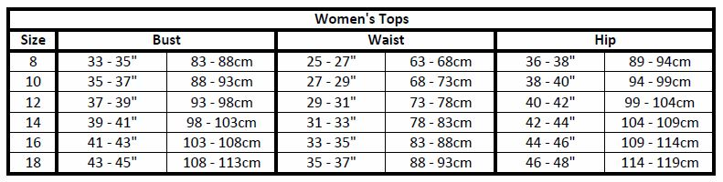 women's apparel sizes