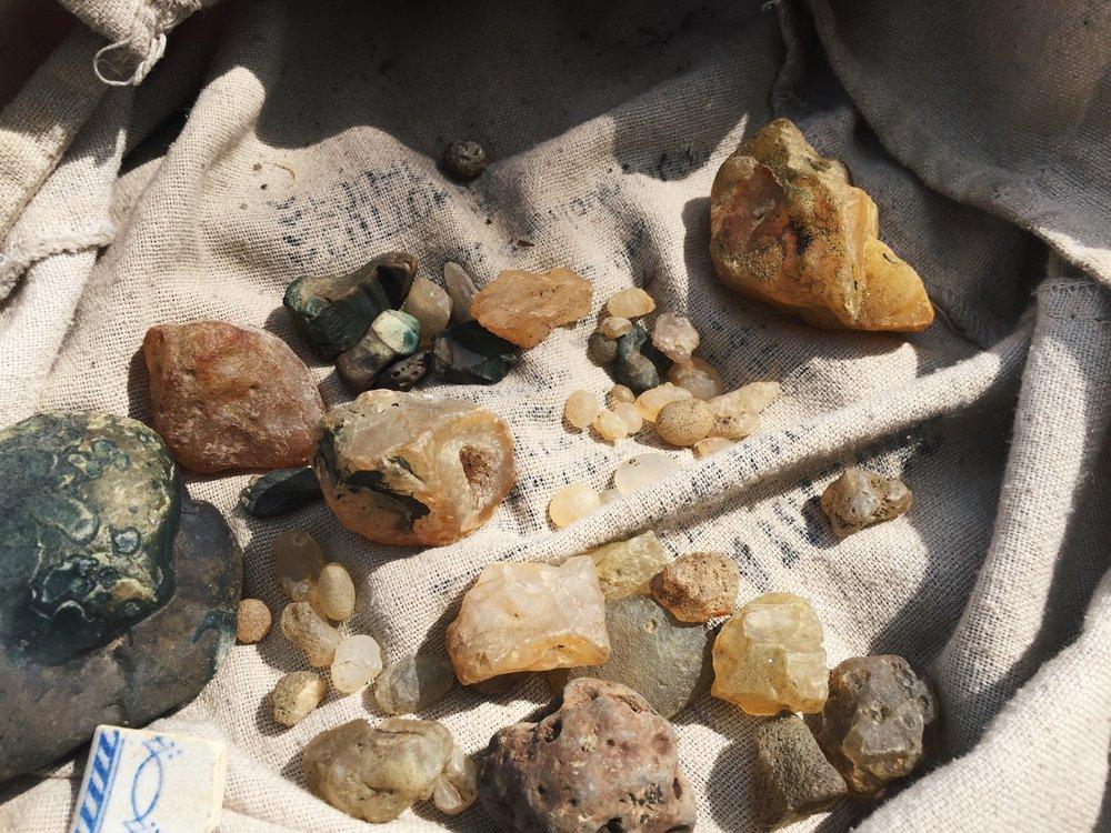 river stones - crystals  - green jasper - tweed valley volcano - ana petre