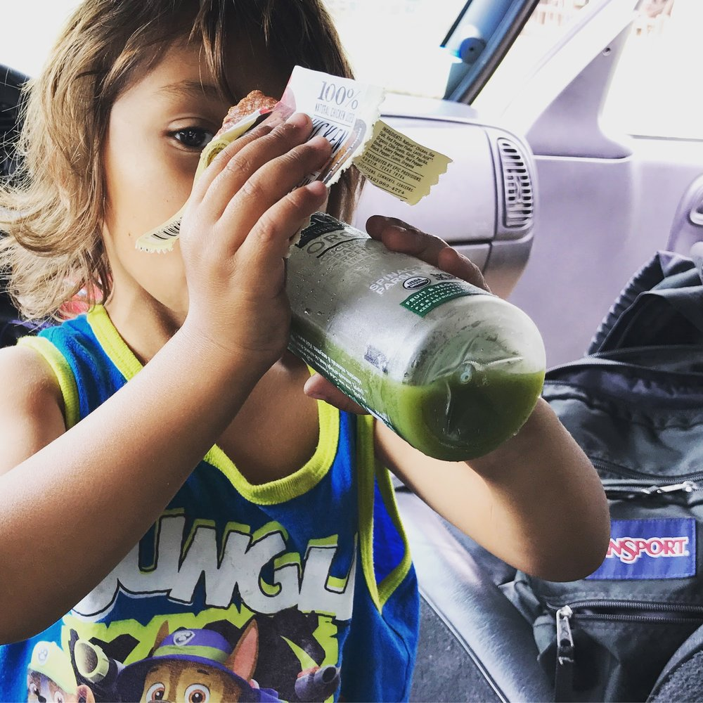 Epic Bars and Suja green juice help keep Bishop healthy and nourished on the road