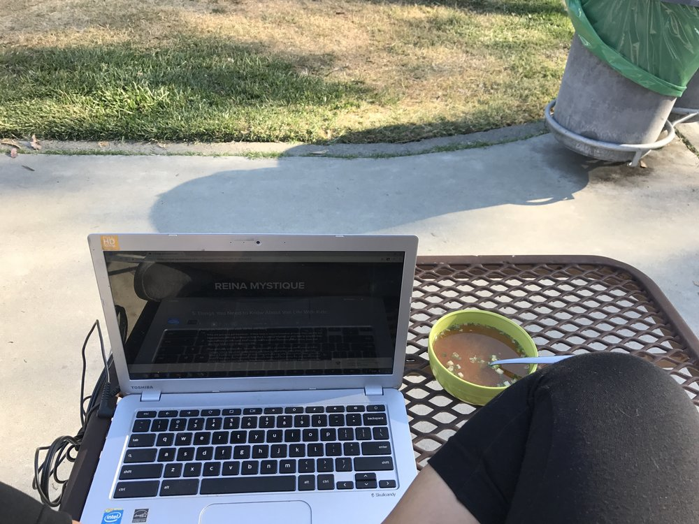 (connected to YMCA wifi at a park. Also enjoying miso soup cooked van life style)