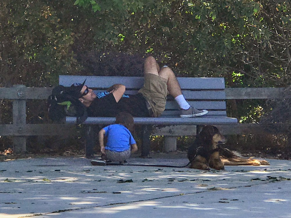 I was playing paparazzi with my camera phone, spying on the guys in the park.