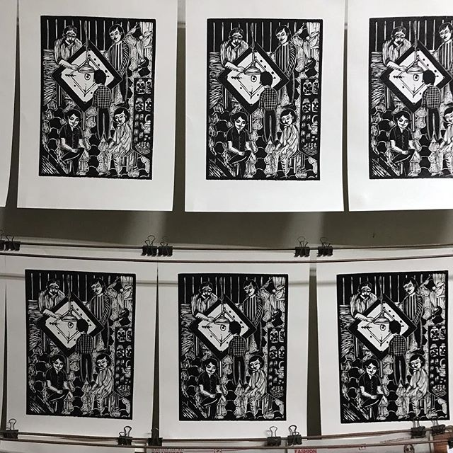 The full edition, finally printed.  #printmaking #art #blackandwhite #woodcut