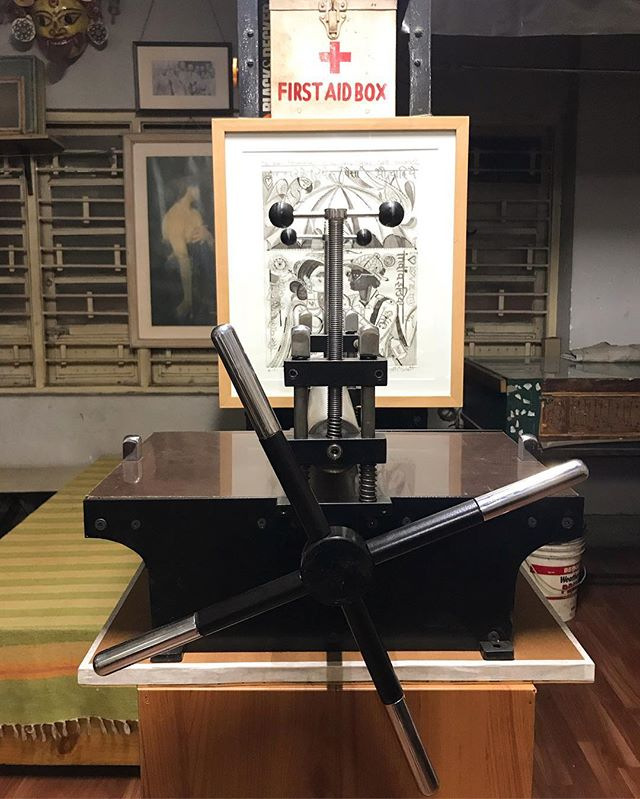 Thinking about the Kaal Boishaki rains in Calcutta, and when I'll get to use this new mini press in the studio. ⛈  #studio #printmaking #calcutta