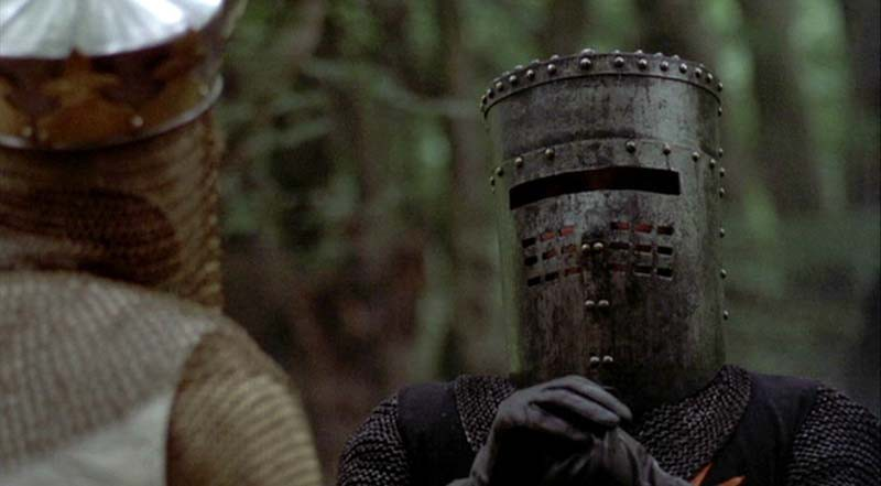 """None shall pass"" scene from Monty Python and The Holy Grail"