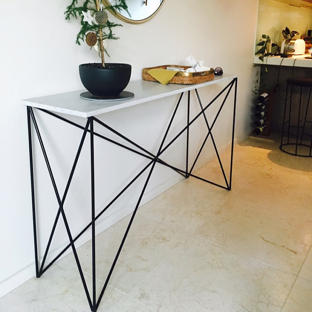 Italian Marble Criss Cross Console Table Modcraft