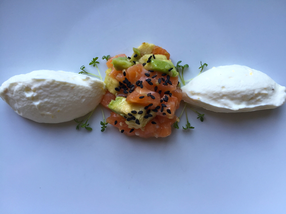 served with a light salmon-avocado tartare