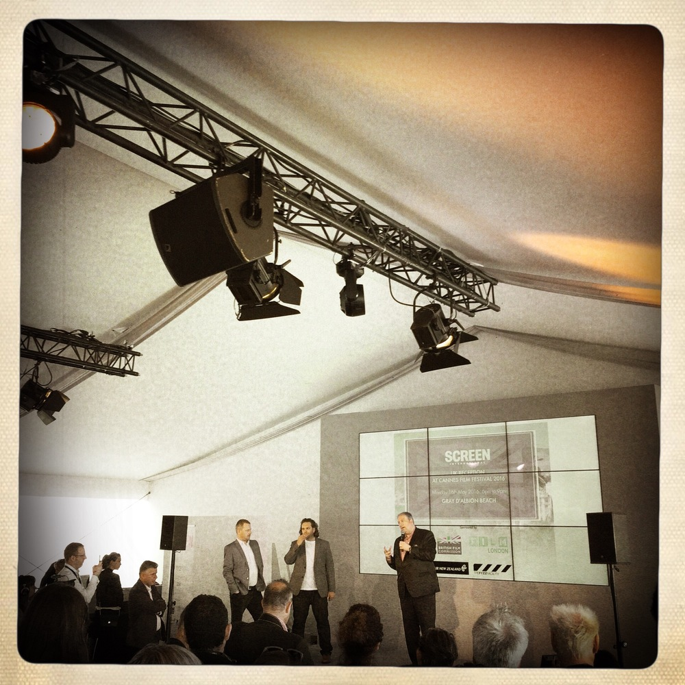 Head of Film London Adrian Wootton welcomes guests at the Screen International,Fizz Facility and BFC event