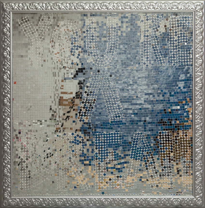 You re a Dream - Dream of me  (2008), mirror mosaic on MDF in wooden frame, spray painted in silver, 139 x 139 cm