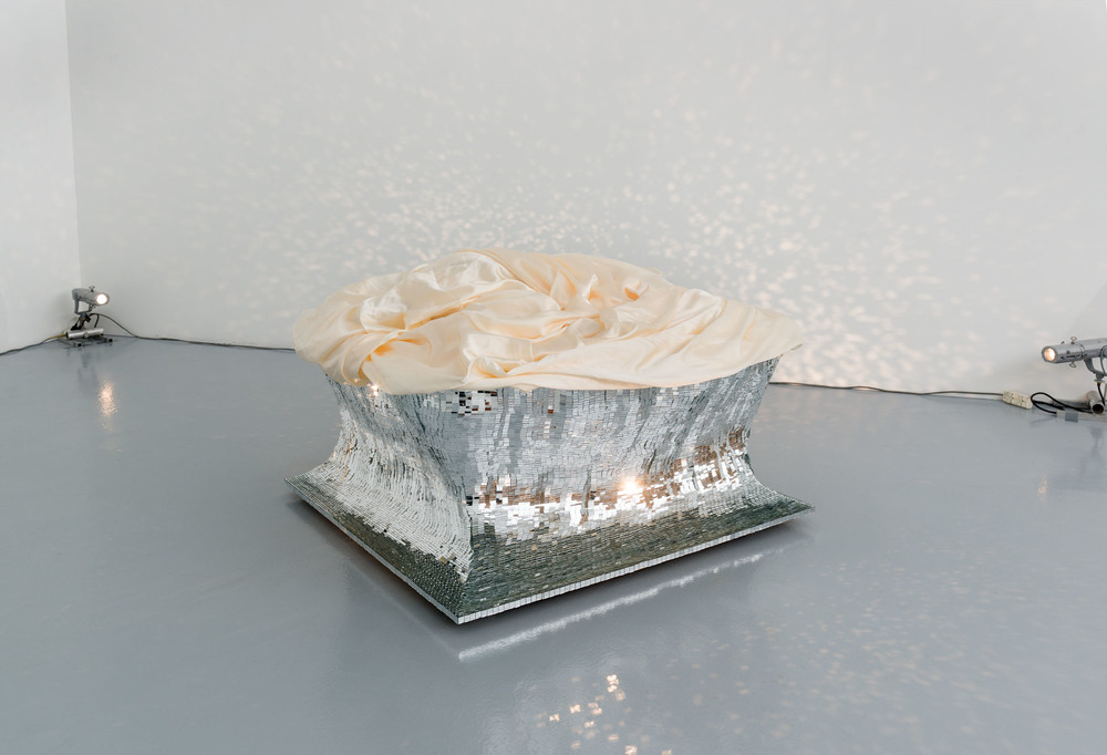 Float/Cream satin  (2013/14), mirror mosaic, satin, glue, 90 x 135 x 145 cm