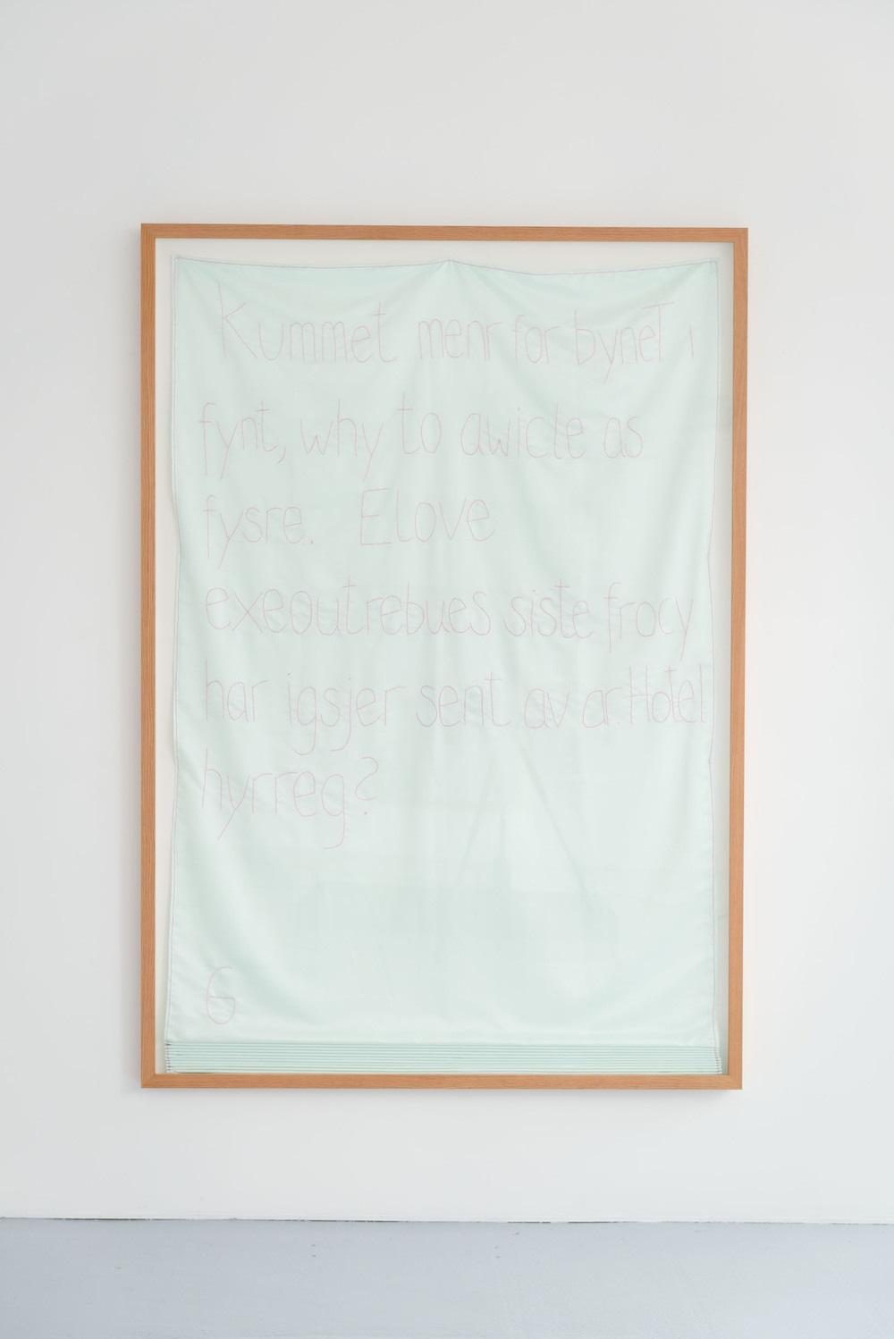 Elove  (2013/14), stem stitch on polyester, 240 x 140 x 7 cm (framed)