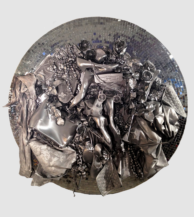 Rejected memorabilia II  (2012), various objects, collectibles, silver spray, mirror mosaic on MDF, 120 x 120 x 10 cm