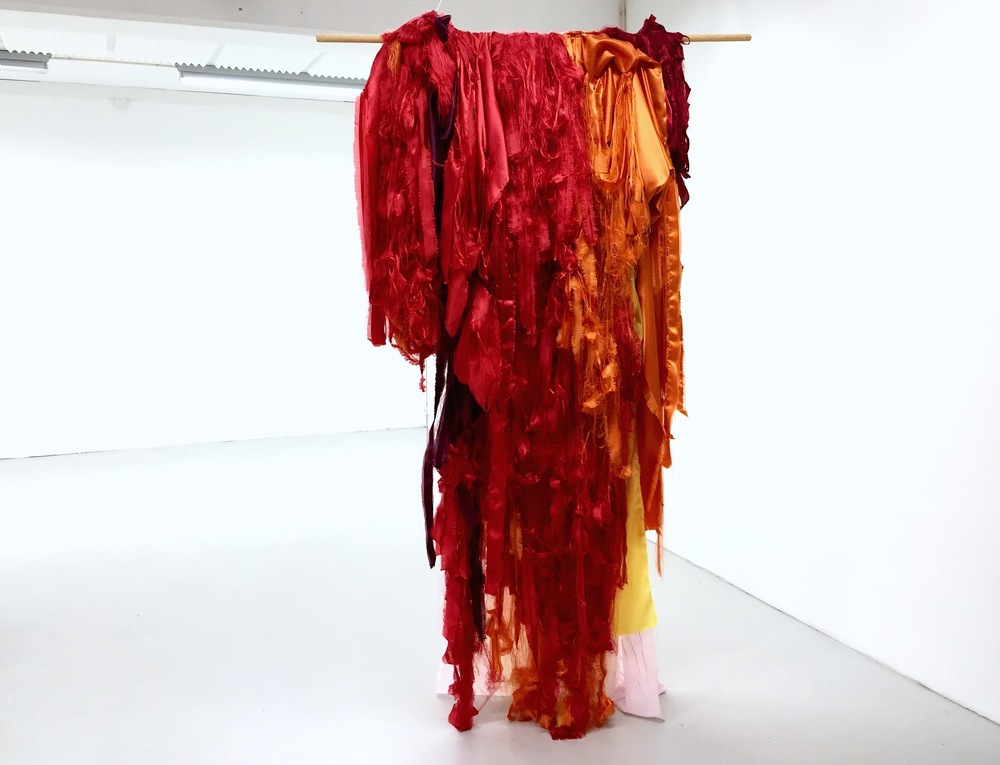 Float (Red)  (2015), torn textile, emboidery, dry pastel, variable size