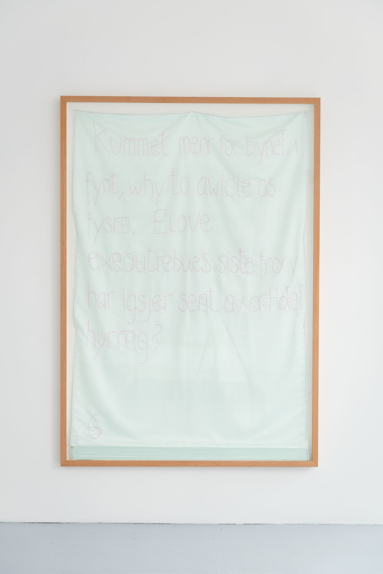 Elove  (2013 - 14), stem stitch on polyester, 240 x 140 x 7cm (framed)
