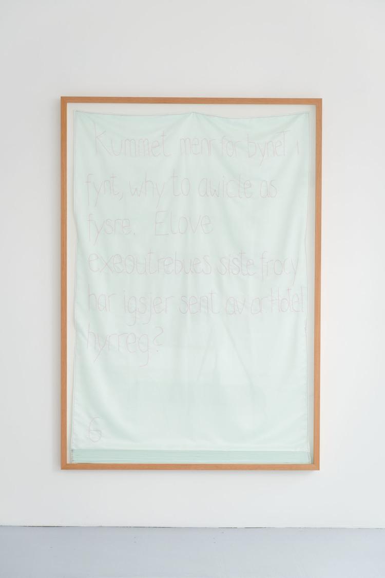 Elove  (2013 - 14), stem stitch on polyester, 240 x 140 x 7cm (framed)