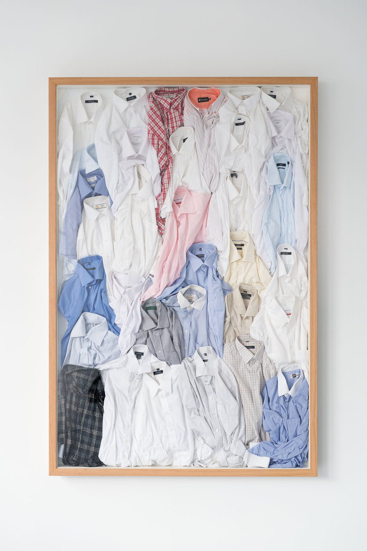 34 shirts  (2013 - 14), textile, 206 x 139cm  In the collection of Stavanger Concert Hall