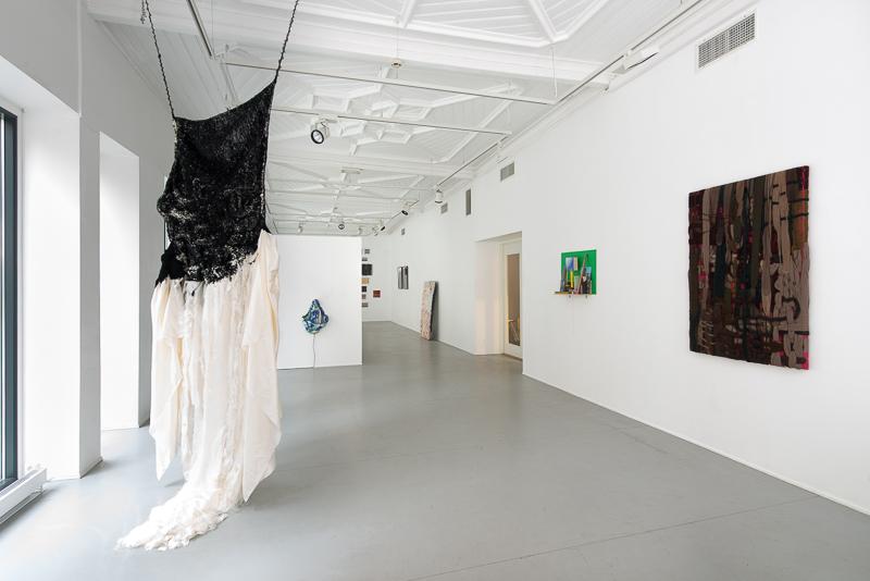Exhibition view. Black Stitch  (2015-16), stem stitch on satin (left). Bjørn Mortensen, Løvaas & Wagle, Elin Melberg, Ann Beate Tempelhaug, Kiyoshi Yamamoto, Løvaas & Wagle.
