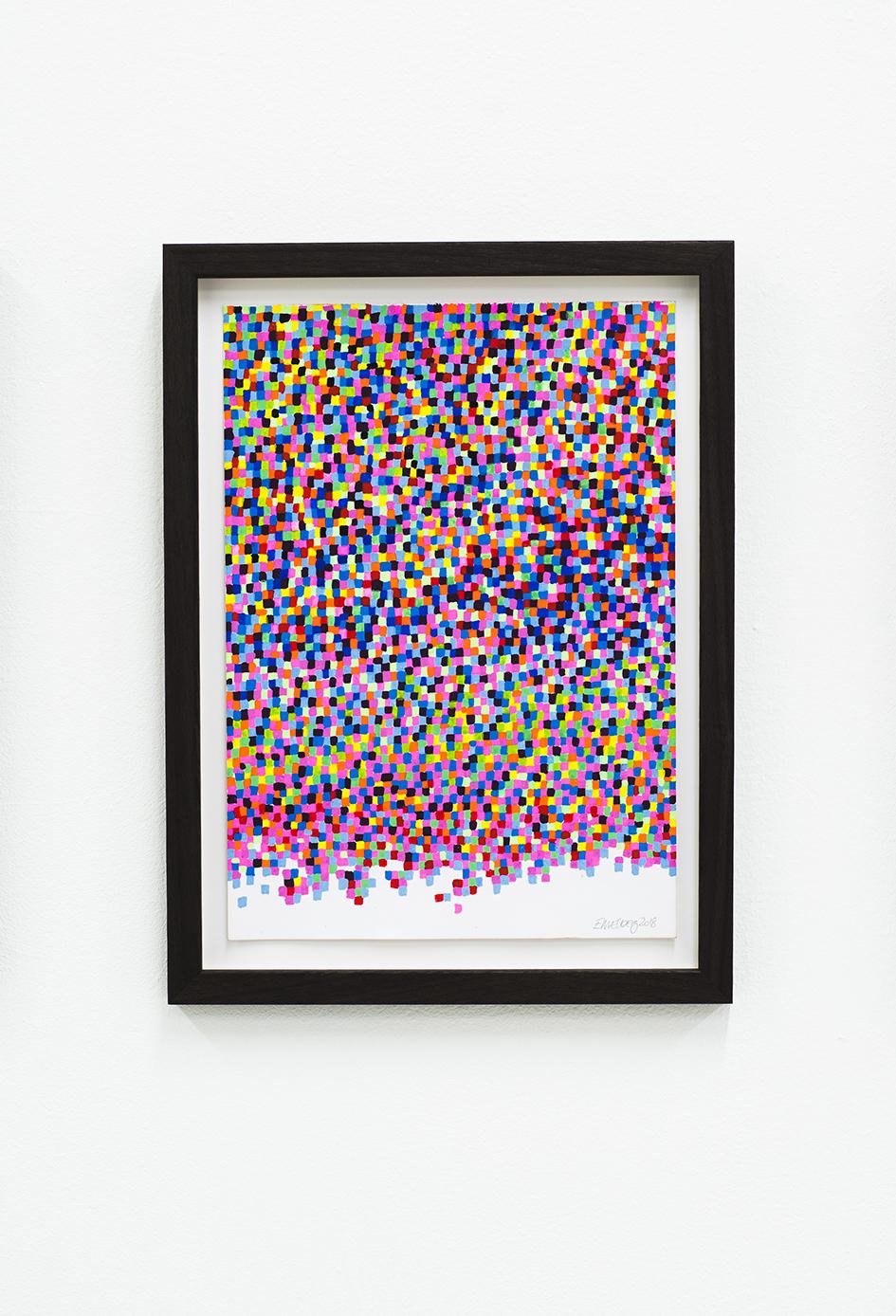 Mosaic drawing (2018)  acrylic on paper, walnut frame size 35 x 26,2cm  Photo: Jan Inge Haga