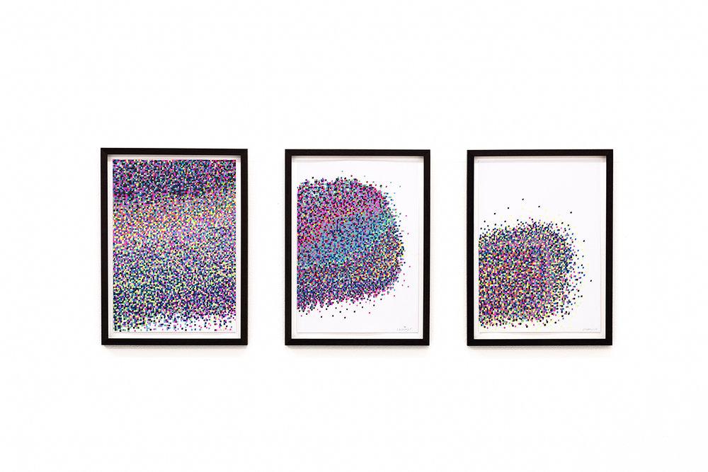 Mosaic drawing (2018)  acrylic on paper, walnut frame sizes 48 x 35,5cm  Photo: Jan Inge Haga