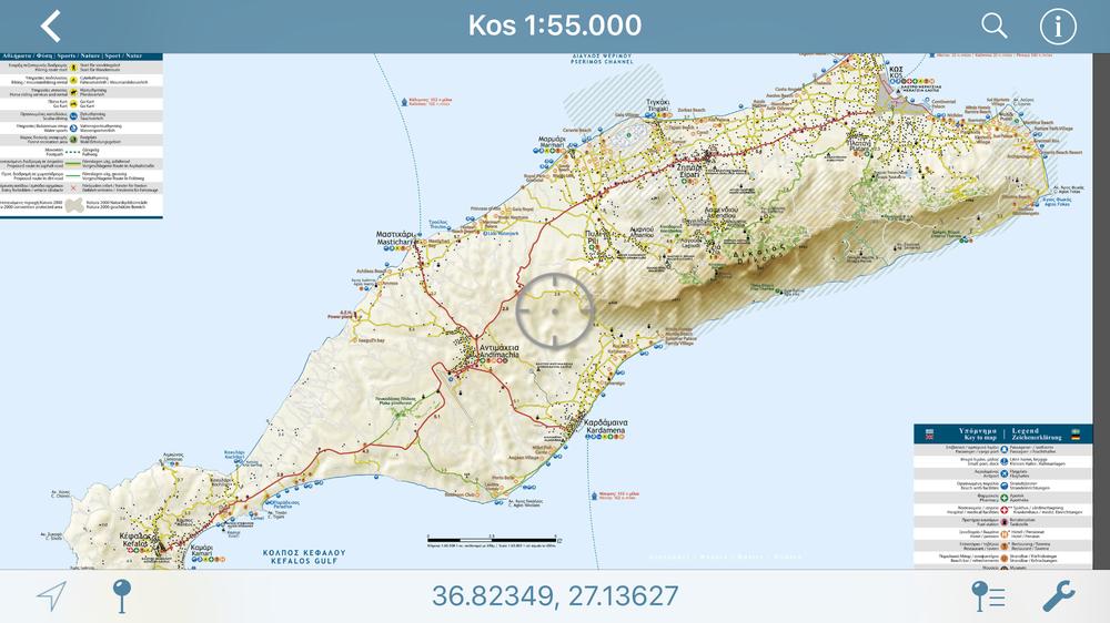 Kos Island//Νήσος Κως - [[Scale 1:65.000///Κλίμακα 1:65.000]]