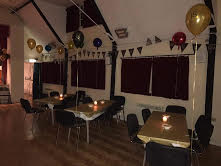 The hall decorated ready for a party