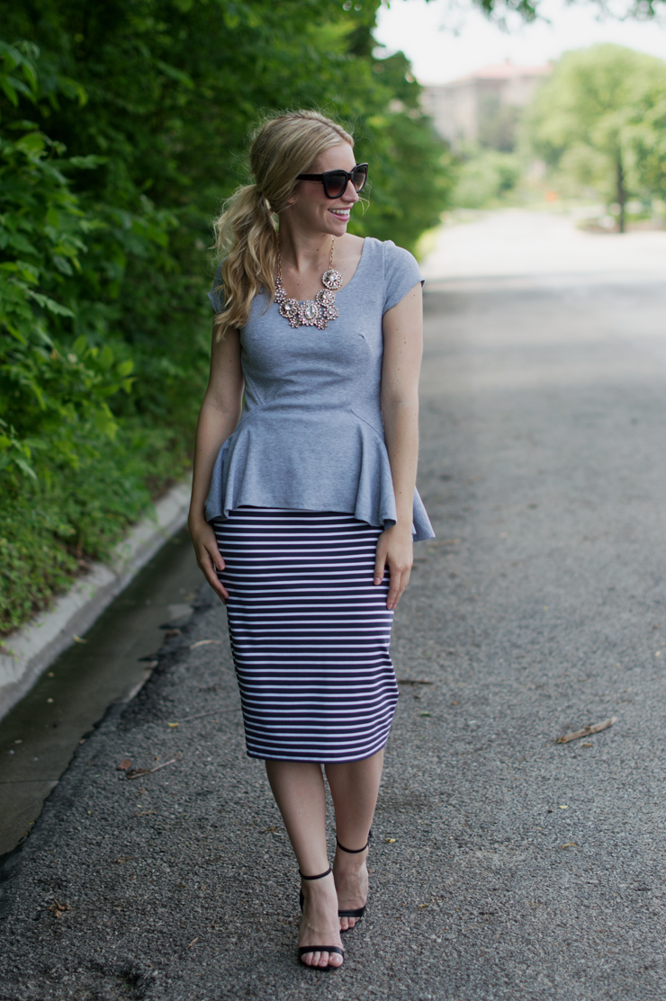 Roe Blvd/Peplum/Fashion Column Twins/Midi Skirt