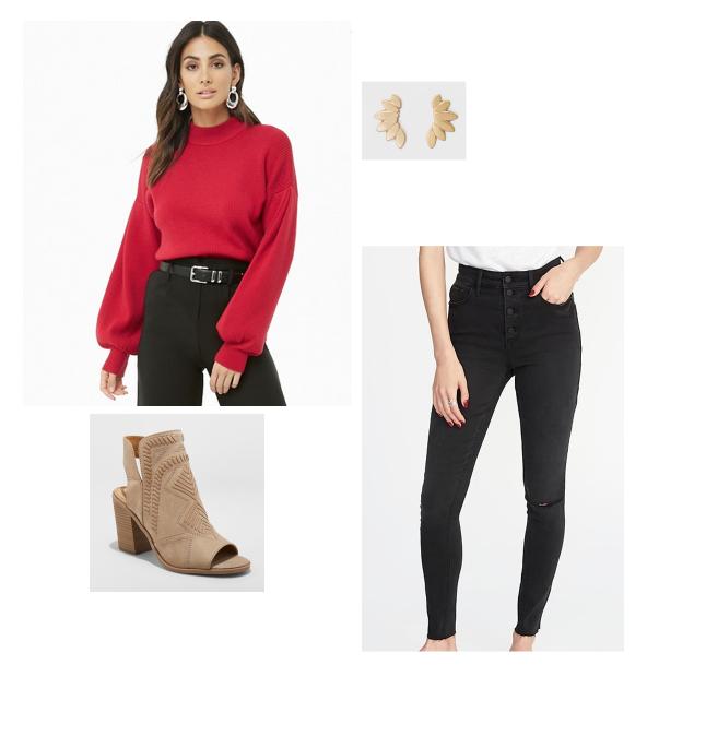SHOP THIS LOOK:     Sweater    |    Earrings    |    Booties    |    Jeans