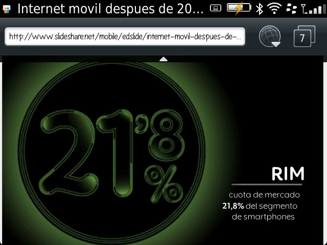 Screenshot from my BlackBerry, keynote at XXV Encuentro de las Telecomunicaciones AMETIC