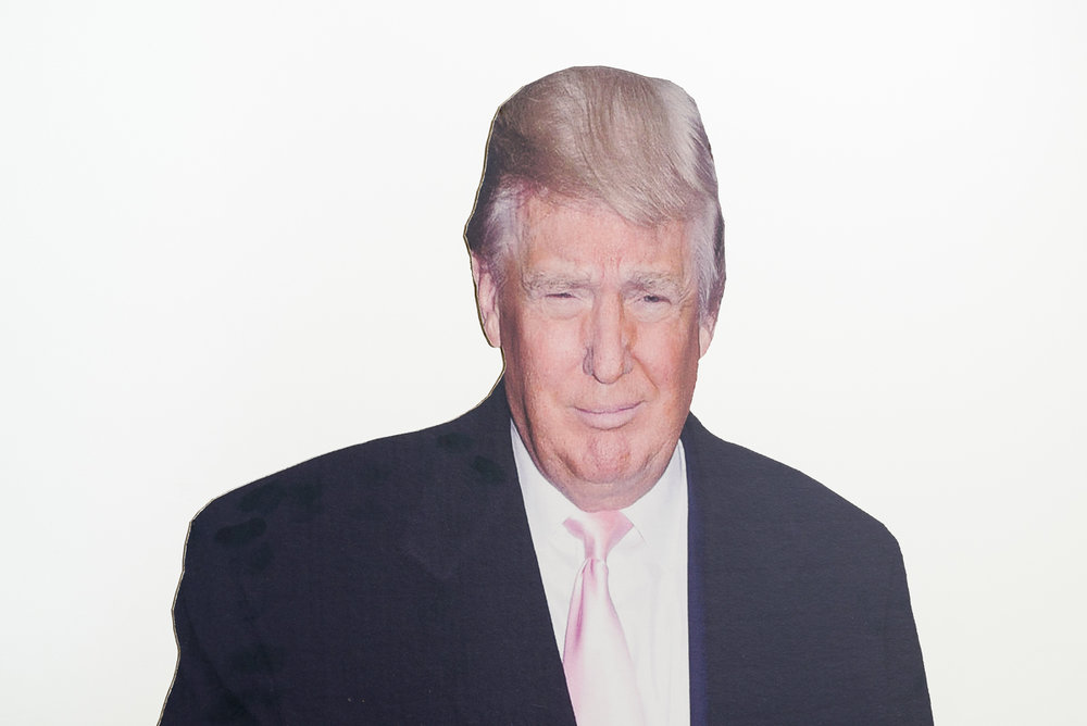 Donald Trump speaking cardboard figure 35 x 185 cm 2016