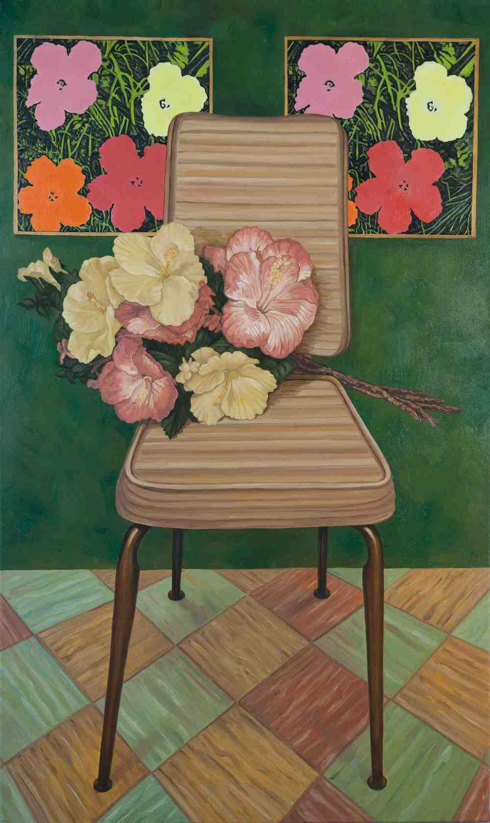 "Portrait of Chair with Hibiscus and Andy Warhol's ""Flowers"" (1962)"""
