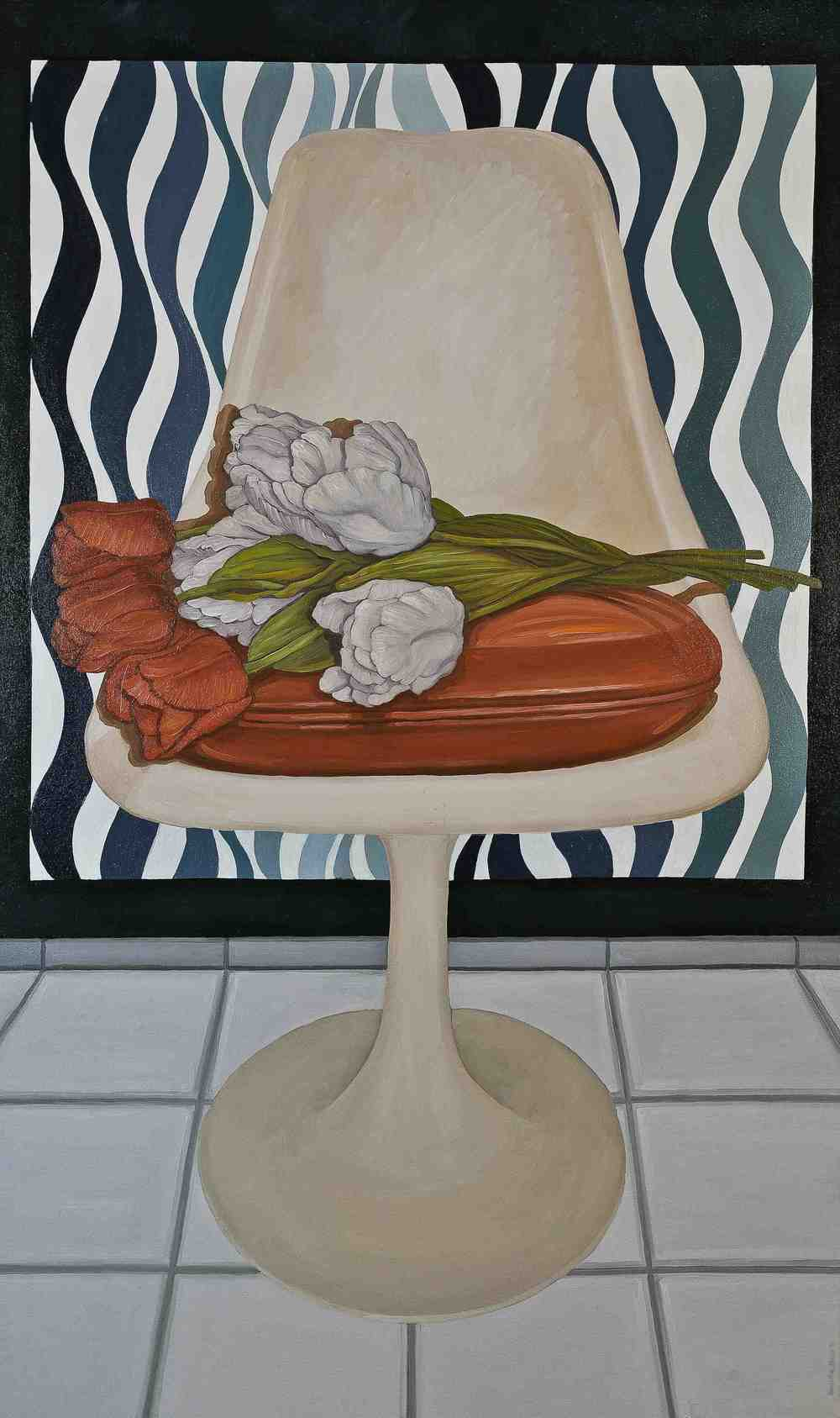 Portrait of Chair with Tulips and Bridget Riley's (1962)""