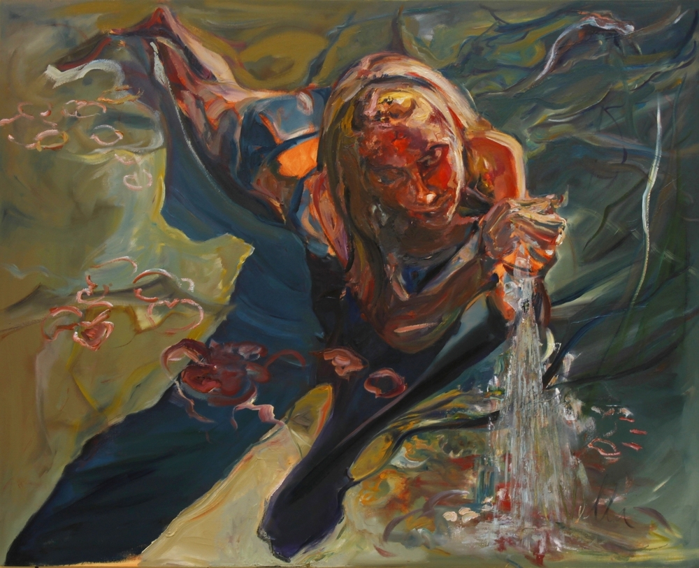 "Mesmerized, 2014, Oil on canvas, 48"" x 60""."