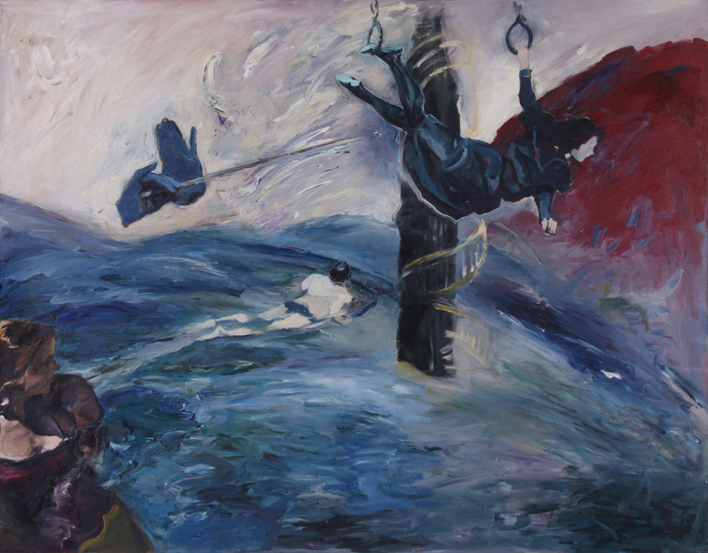 "Thoughts Have Wings, 1987, acrylic on canvas, 42"" x 54""."