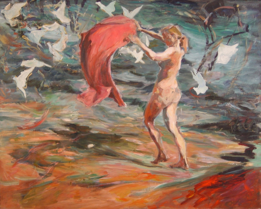 "And They Call The Wind, 1992, oil on canvas, 48"" x 50""."