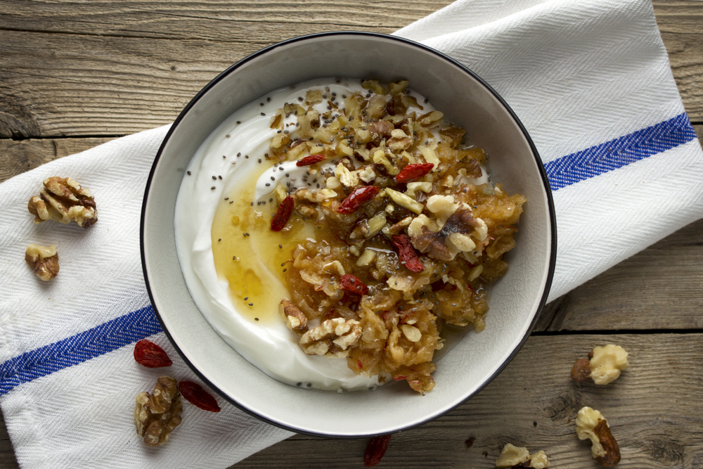 Grated Apple Yogurt Bowl With Nuts And Honey
