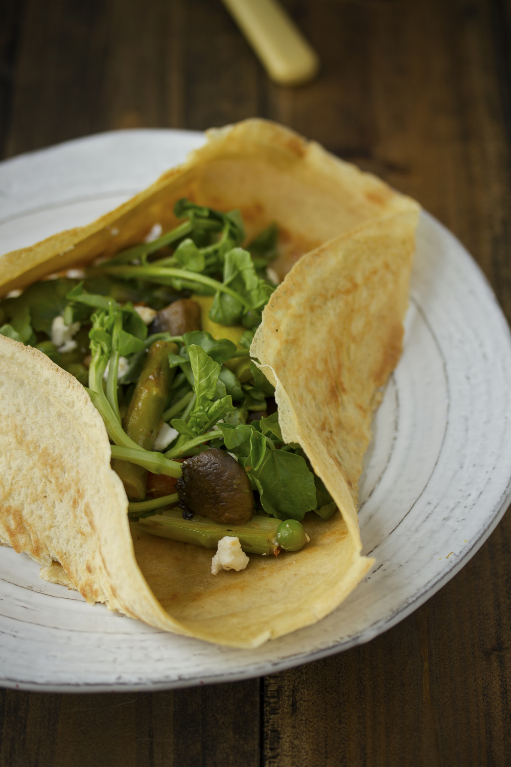 chickpea flour crêpes with spring veggies