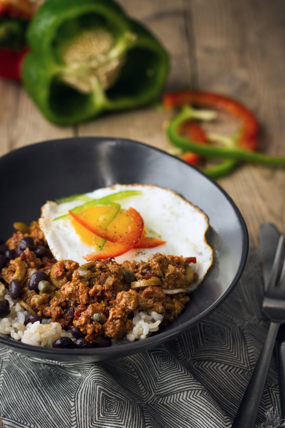 Turkey Picadillo with Sunny-Side Up Egg