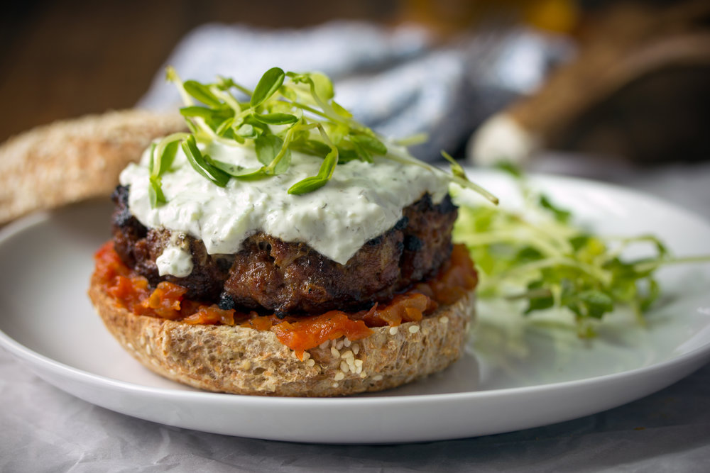 Merguez Burger with Tomato Chutney and Tzatziki