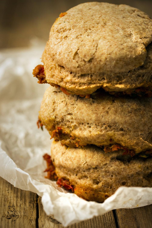 Turkey Veggie Skillet with Spelt Biscuits
