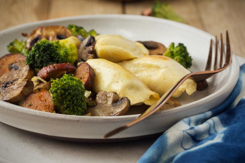 Sheet Pan Pierogies with Chorizo, Broccoli and Mushrooms