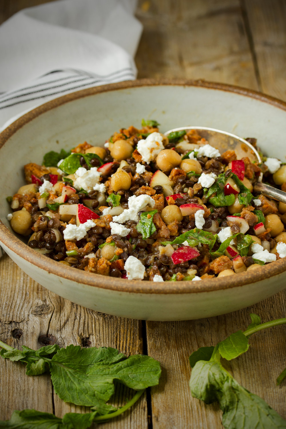 Radish, Chickpea and Black Lentil Salad with Andouille Sausage
