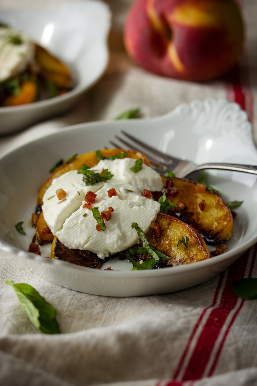 Pan-Seared Peaches with Goat Cheese, Pancetta and Balsamic