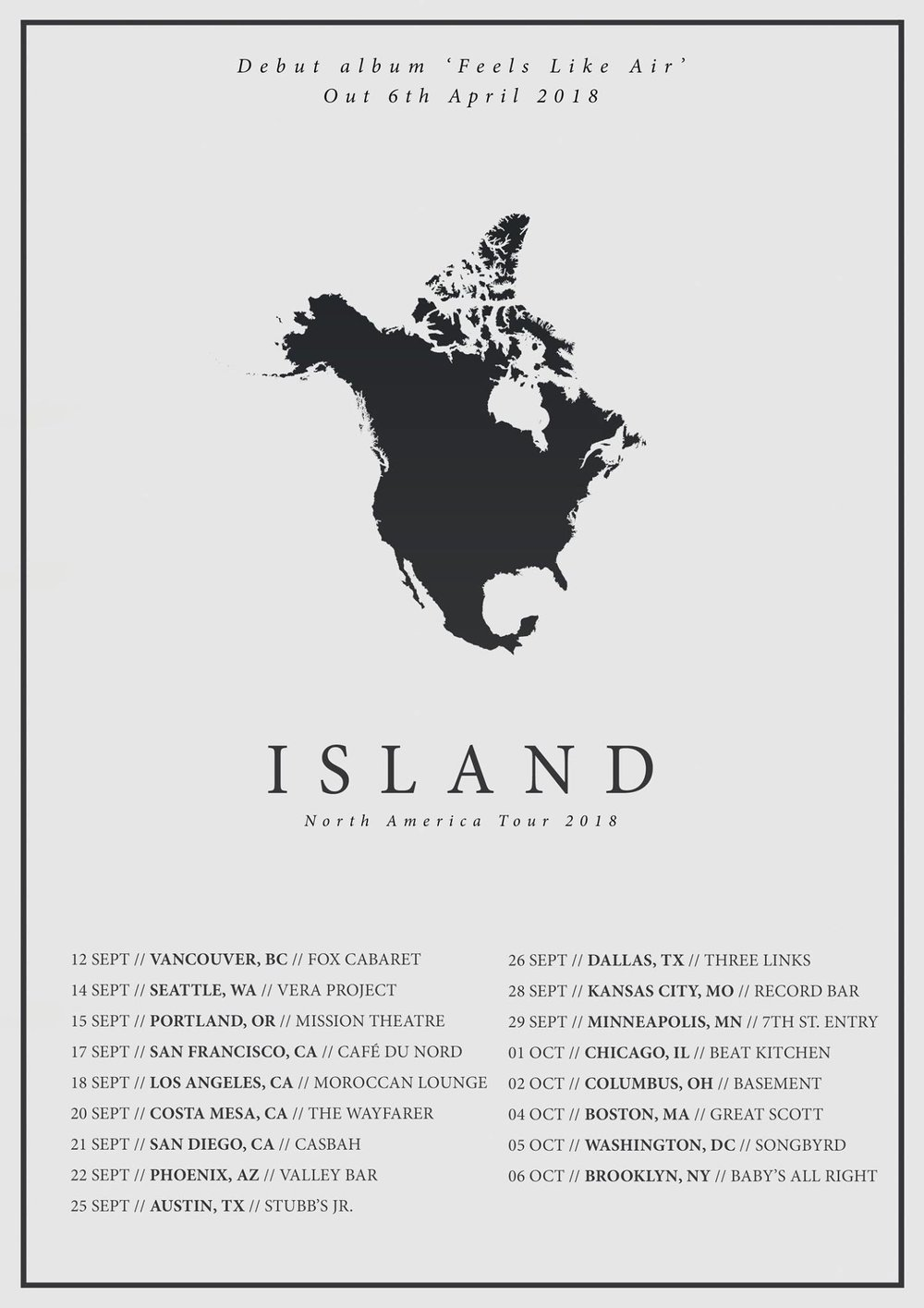 ISLAND Announce North American Tour! — Frenchkiss Records