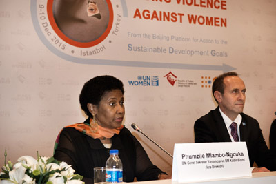 UN Women Executive Director Phumzile Mlambo-Ngcuka spoke at the press conference before the opening of the global meeting on Ending the violence against Women in Istanbul, Turkey. Photo: UN Women/Ventura Formicone