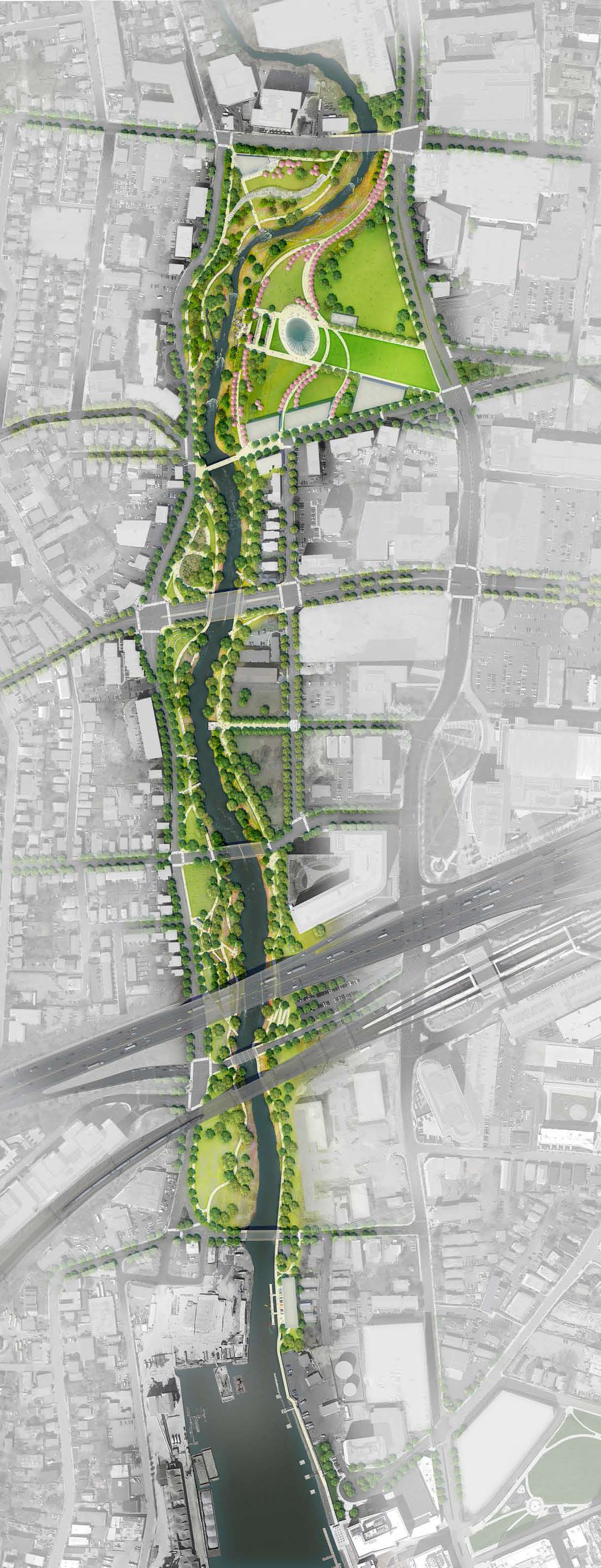 Mill River Park and Greenway Masterplan © OLIN