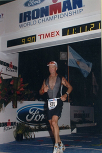 Lou Cookson finishing the Ironman World Championships