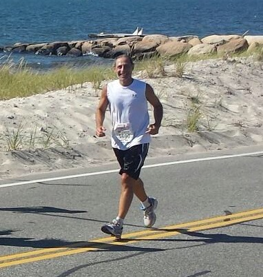 Richard running this past weekend in the Falmouth Race, which is the same race he suffered exertional heat stroke back in 2013.