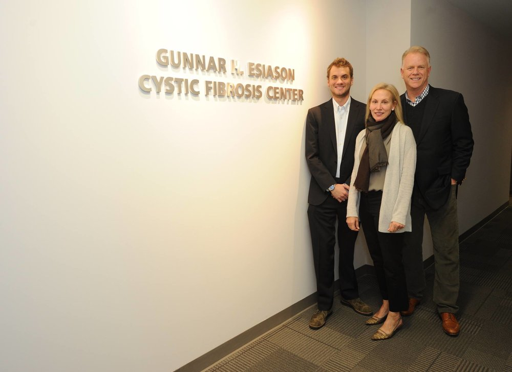 Gunnar and his parents at the dedication ceremony for the Cystic Fibrosis Center at Morristown Medical Center.