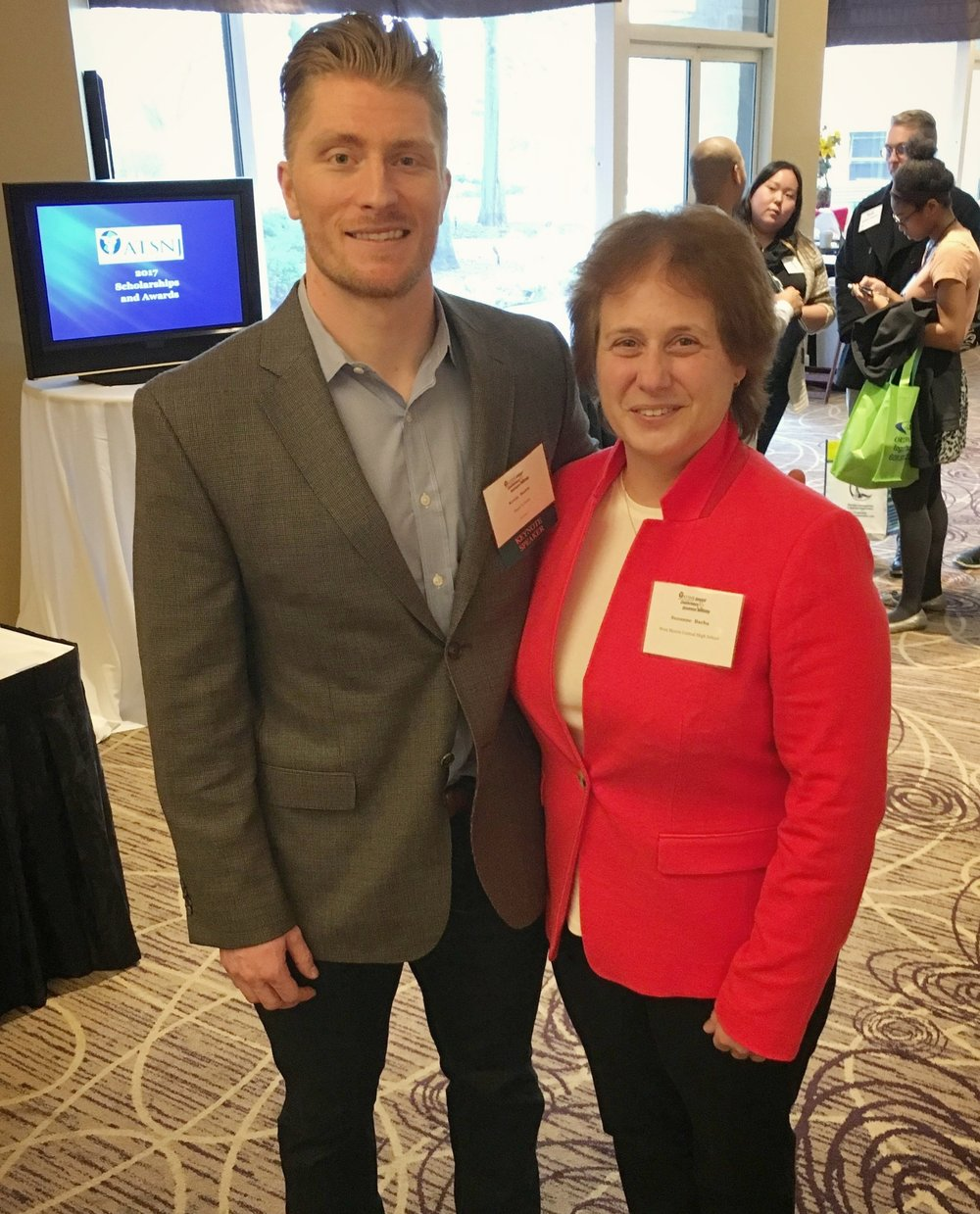 2017 ATSNJ Keynote Speaker - Pictured: Kevin with Suzanne Barba, the athletic trainer who saved his life back in 2007.