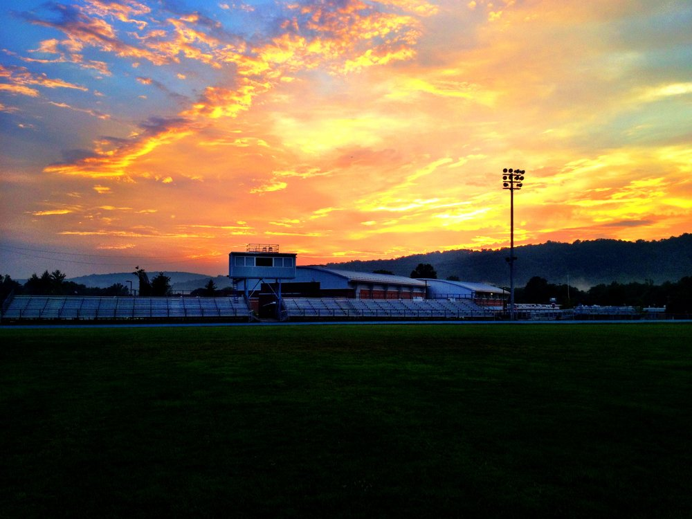 The football field remains a happy place for me to this day.  I took this photo during a track workout a few years after graduating from WMC.  It truly is a little slice of heaven and I am sure Tyler's Mom has something to do with that.