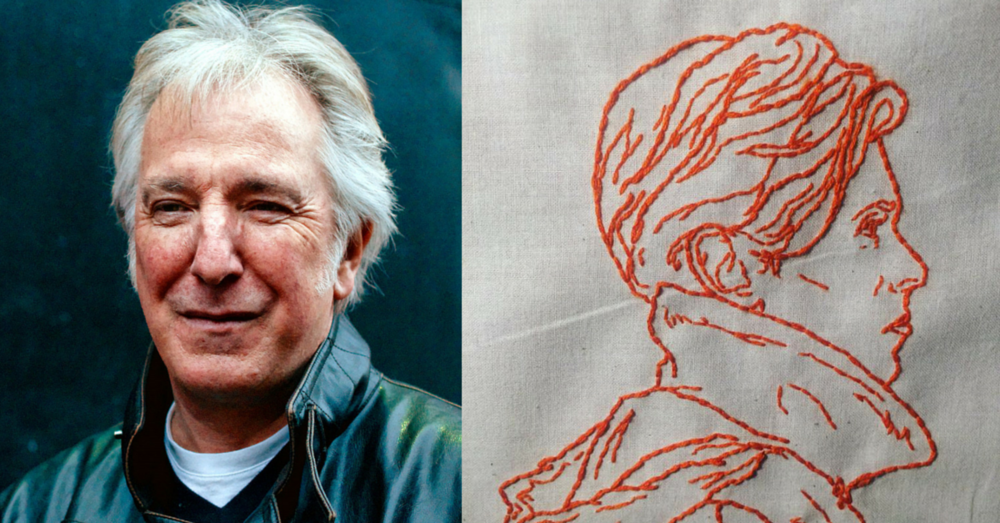Alan Rickman photo By Marie-Lan Nguyen [CC BY 3.0 (http://creativecommons.org/licenses/by/3.0)], via Wikimedia Commons | David Bowie Embroidery created by Studio SRH,  http://www.studiosrh.com/